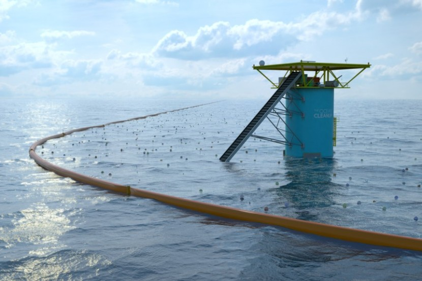 Slat's envisioned ocean clean up array (image: The Ocean Cleanup)